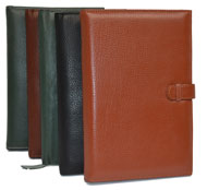 green, tan, camel and black leather planner covers
